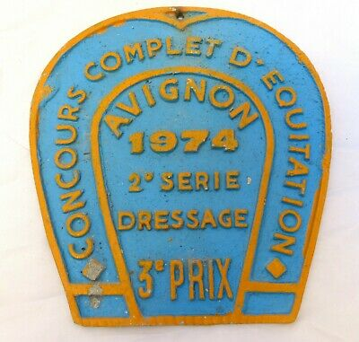 Nice Vintage French Horse Training Show prize award plaque plate AVIGNON 1974