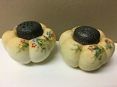 1800's MT. WASHINGTON Tomato Form Hand Painted SALT/PEPPER Shakers Original Tops