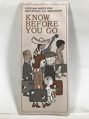 1970 US CUSTOMS HINTS FOR RETURNING U.S. RESIDENTS Know Before You Go Booklet