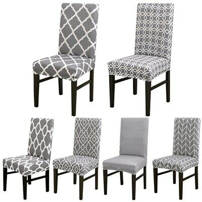 6PCS Veley Dining Seat Chair Covers Slip Stretch Wedding Banquet Party Removable