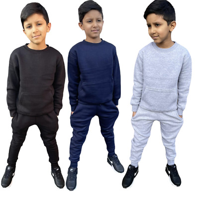 Unisex Boys Girls Plain Tracksuit Top Jogging Bottom School Full Suit