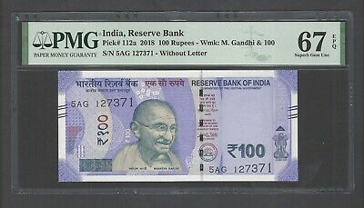 India 100 Rupees 2018 P112a Without Letter Uncirculated Graded 67