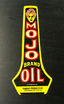 Vintage Mojo Brand Oil Label - Famous Products Co. - Chicago USA - Bright Colors