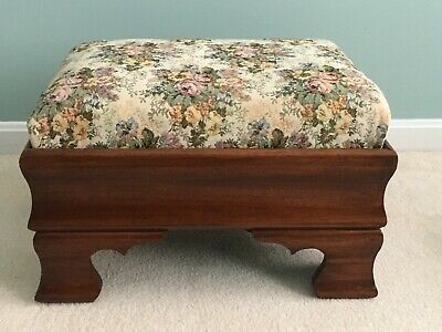 Antique Footstool with Wooden Ogee Base and Tapestry Upholstery - Ottoman