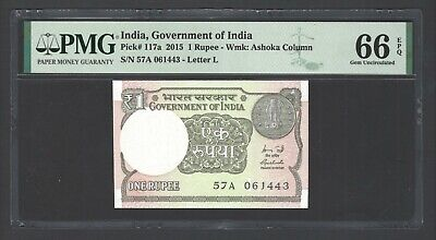 India One Rupee 2015 P117a Uncirculated Graded 66