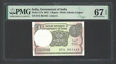 India One Rupee 2015 P117a Uncirculated Graded 67