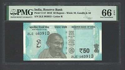 India 50 Rupees 2018 P111f Uncirculated Letter R Graded 66