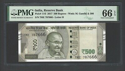 India 500 Rupees 2017 P114i Uncirculated Letter R Graded 66
