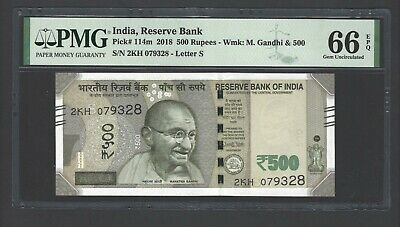 India 500 Rupees 2018 P114m Uncirculated Letter S Graded 66