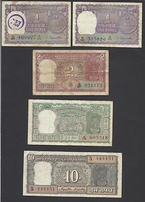 India  -  Lot Of  5  Notes   1960'  @     @