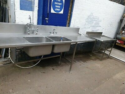 Commercial Passthrough Dishwasher  Hobart Double Bowl Sink with  And Tables