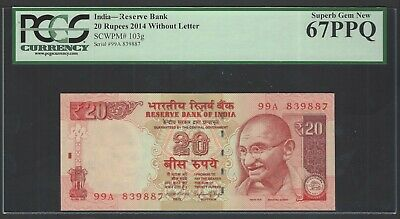 India 20 Rupees ND 2014 Without letter P103g Uncirculated Graded 67