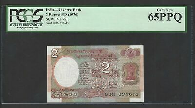 India 2 Rupees ND(1976) P79j Uncirculated Graded 65
