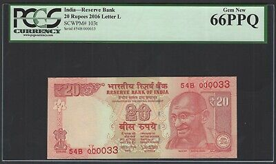 India  20 Rupees 2016 P103t Letter L S/000033 Uncirculated Graded 66
