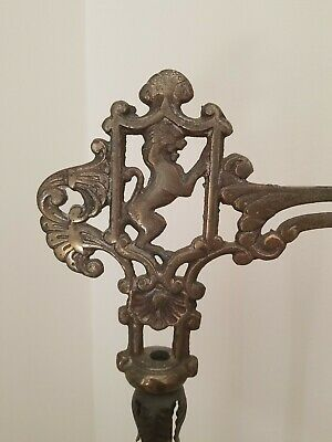 Ornate Metal/glass lion Stand Lamp Plant Hanging vintage antique cast iron
