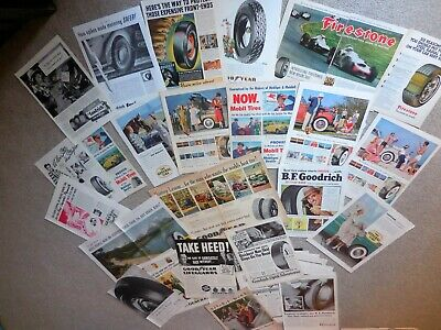 34 Vintage TIRE Magazine Print Ads, various makes from 1929 - 1951
