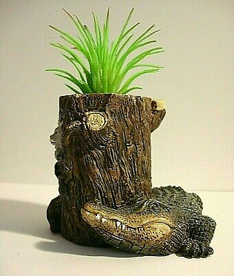 "Collectible Miniature Vase w/Alligator-2.75"" x 2.75""-Resin-Realistic+Plant"