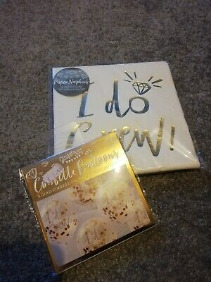 Ginger Ray I Do Crew Napkins And Balloons. Hen Party. Gold. Brand New