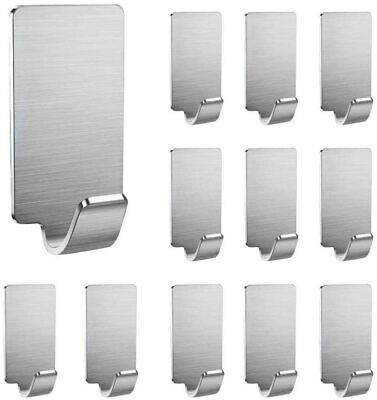 12 Pack Self Adhesive Hooks Stainless Steel 3M Wall 2.9x1.6cm
