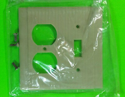 NOS RIBBED 2 GANG Receptacle / Switch Ivory Bakelite Cover Plate Vintage P&S