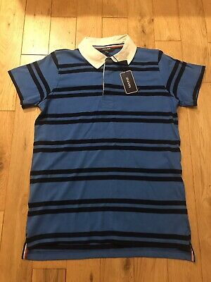 BNWT MAINE Debenhams Boys Bright Blue Black Striped  Polo Shirt Age 13-14 Years