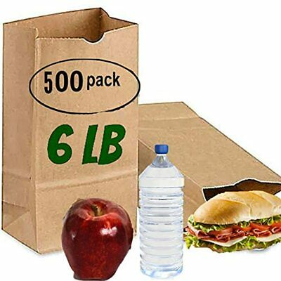 Recycled Kraft Paper Bags 6 Lb 500 Brown Lunch Sacks Sandwich Pound Bags, Party