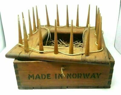 Vintage Wooden Rope Box Marine Harpoon Whale Hunting Made in Norway Hand Crafted