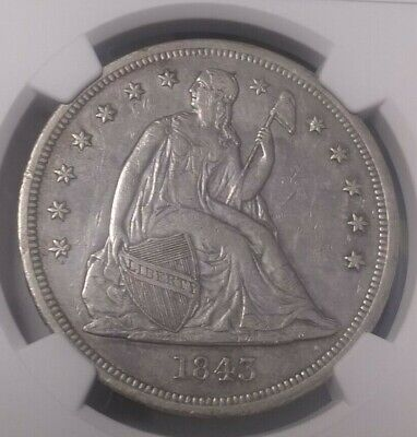 Certified 1843 Seated Liberty Silver Dollar NGC AU Det. Rare In This Condition !