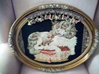 Large Framed Antique English Needlepoint Tapestry of King Charles Spaniel