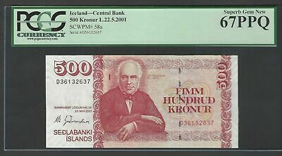 Iceland 500 Kronur L 22-5-2001 P58a Uncirculated Graded 67