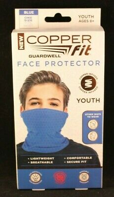 Copper Fit - Face Protector - Youth Mask - Blue - Moisture Wicking - Lightweight