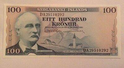 Iceland Banknote. 100 Kronur. Unc. Dated 1961