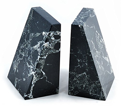 Himalayan Marble Bookends Black Marble Wedge Bookends