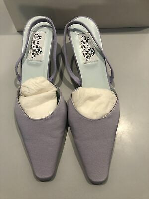 Vintage Grosgrain Lilac And Suede Wedding Shoes