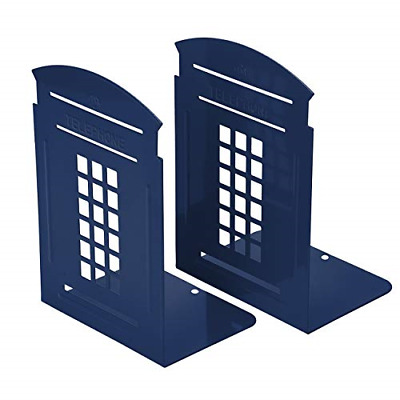 Bookends Blue, MerryNine 1 Pair Heavy Metal Non Skid Sturdy Telephone Booth Gift