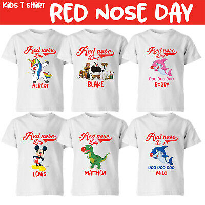 Red Nose Day Kids T Shirt Personalised Add Your Name Boys Girls Tee Top