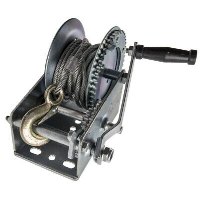 3500lbs / 1500Kg Manuale Verricello Fune Handle Hand Winch 6.0mm X 10m Cable