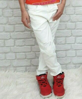 NEW Young Versace RRP £229 Designer Boys White Distressed Jeans 8 YRS kids A216