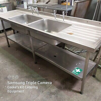 Large Stainless Double Bowl Sink Unit 240 X 65Cm