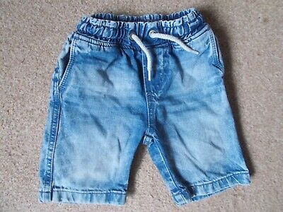 H&M Boys Denim Pull On Tie Front Elastic Waist Shorts Age 2/3 Years