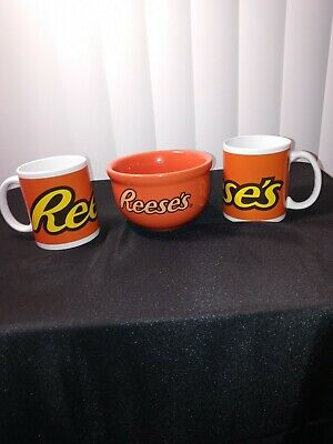 2 Reese's Candy Coffee Mugs & Cereal Bowl, Chocolate Peanut Butter Cups