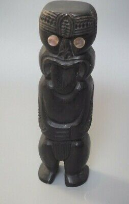 Good Small Vintage Oceanic Tribal Art New Zealand Maori Carved Tiki Figure Paua