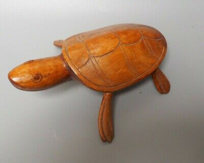 Good Small Vintage Oceanic Tribal Art Pitcairn Island Carved Wooden Model Turtle
