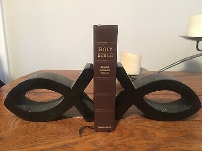 bookends  christian theme  Ichthys fish black pottery bookends
