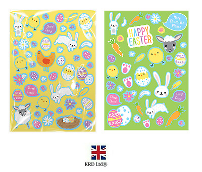 Easter Stickers Bunnies Eggs Chicks Decoration Craft Bag Cards Kids UK G1886
