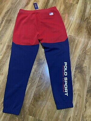 Polo Ralph Lauren Men's Navy & Red Polo Sport Track Bottom Size M BNWT