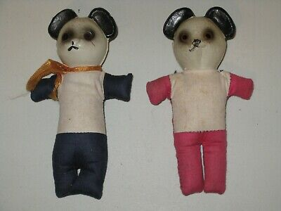 """Vintage 5"""" Pandas With Cloth Bodies Thin Plastic Heads & Saw Dust Stuffed Bodies"""