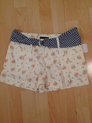 Polo Lauren Girl's Floral With Blue Gingham Belts Shorts For 10 Years BNWT