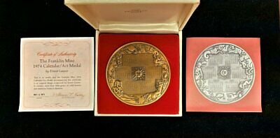 Large Franklin Mint 1974 Annual Calendar Art Medal Bronze w/ Box & Papers