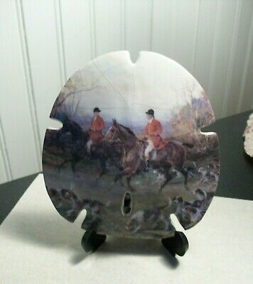 "Large 4 1/4"" sand dollar sea shell w/ glazed hunt scene horses riders hounds"